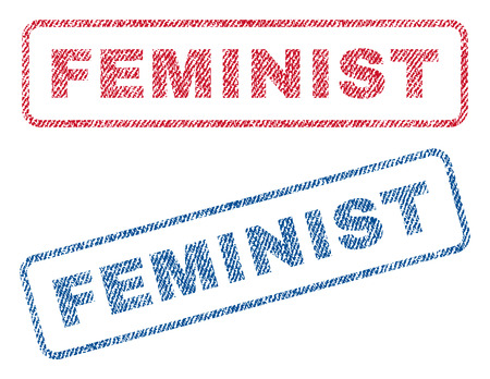 Feminist text textile seal stamp watermarks. Blue, red fabric vectorized texture. Vector caption inside rounded rectangular banner. Rubber emblem with fiber textile structure. Illustration