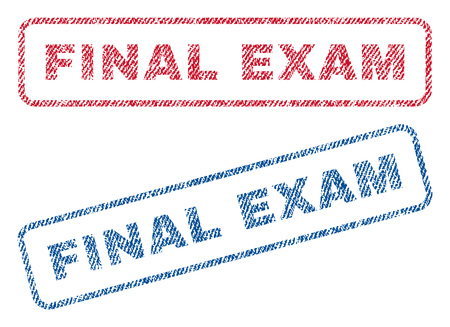 Final Exam text textile seal stamp watermarks. Blue, red fabric vectorized texture. Vector tag inside rounded rectangular shape. Rubber emblem with fiber textile structure.