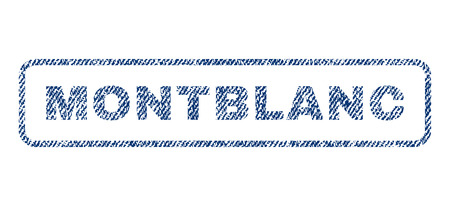 Montblanc text textile seal stamp watermark. Blue jeans fabric rasterized texture. Raster caption inside rounded rectangular banner. Rubber sign with fiber textile structure.