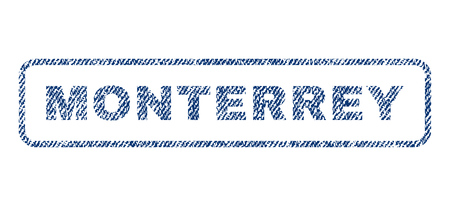 monterrey: Monterrey text textile seal stamp watermark. Blue jeans fabric rasterized texture. Raster caption inside rounded rectangular banner. Rubber emblem with fiber textile structure. Stock Photo