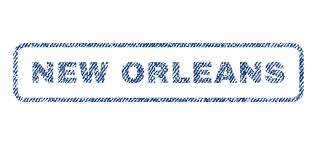 new orleans: New Orleans text textile seal stamp watermark. Blue jeans fabric rasterized texture. Raster caption inside rounded rectangular banner. Rubber emblem with fiber textile structure. Stock Photo