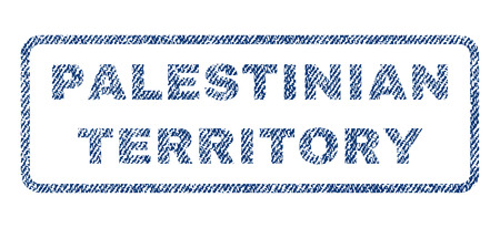 Palestinian Territory text textile seal stamp watermark. Blue jeans fabric rasterized texture. Raster tag inside rounded rectangular banner. Rubber sign with fiber textile structure. Imagens