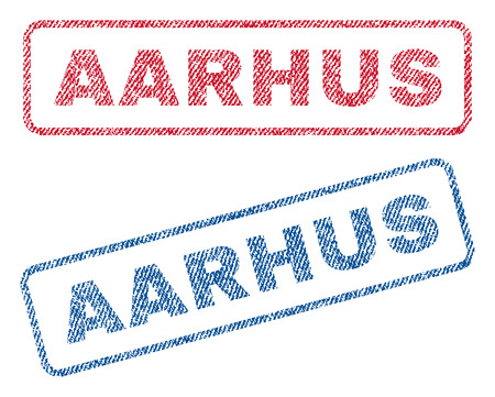 Aarhus text textile seal stamp watermarks. Blue, red fabric vectorized texture. Vector caption inside rounded rectangular shape. Rubber sign with fiber textile structure.