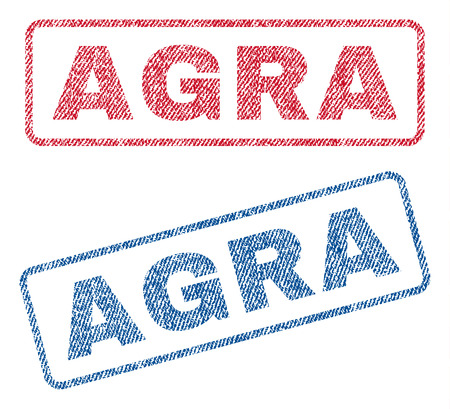 agra: Agra text textile seal stamp watermarks. Blue, red fabric vectorized texture. Vector tag inside rounded rectangular banner. Rubber sign with fiber textile structure.