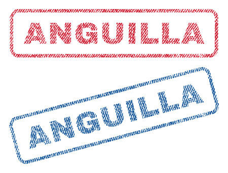 anguilla: Anguilla text textile seal stamp watermarks. Blue, red fabric vectorized texture. Vector caption inside rounded rectangular banner. Rubber sign with fiber textile structure.