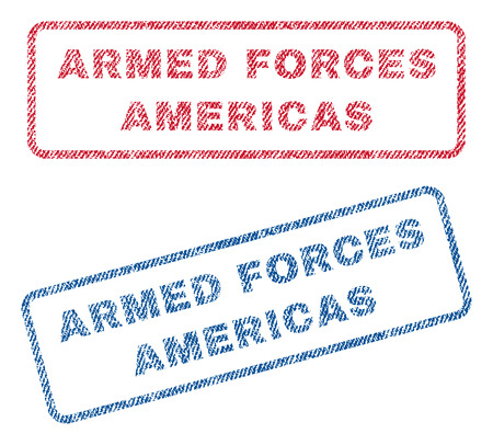 military draft: Armed Forces Americas text textile seal stamp watermarks. Blue, red fabric vectorized texture. Vector tag inside rounded rectangular banner. Rubber sign with fiber textile structure.