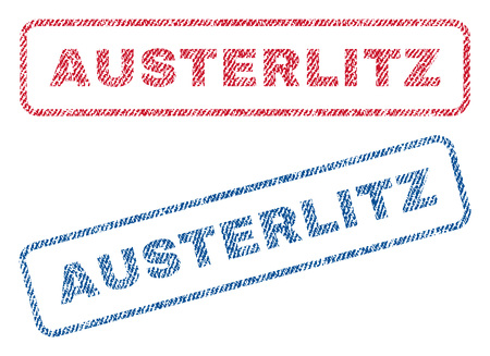 austerlitz: Austerlitz text textile seal stamp watermarks. Blue, red fabric vectorized texture. Vector tag inside rounded rectangular banner. Rubber sticker with fiber textile structure. Illustration
