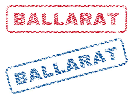 ballarat: Ballarat text textile seal stamp watermarks. Blue, red fabric vectorized texture. Vector tag inside rounded rectangular banner. Rubber sticker with fiber textile structure.