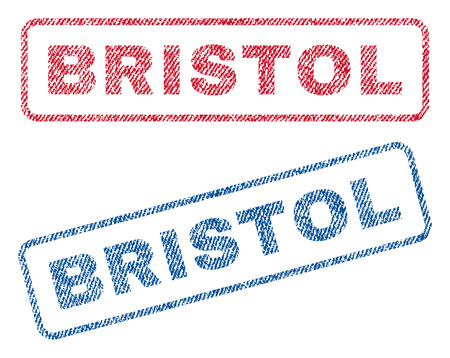bristol: Bristol text textile seal stamp watermarks. Blue, red fabric vectorized texture. Vector tag inside rounded rectangular shape. Rubber emblem with fiber textile structure.