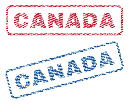 canada stamp: Canada text textile seal stamp watermarks. Blue, red fabric vectorized texture. Vector tag inside rounded rectangular banner. Rubber sticker with fiber textile structure.