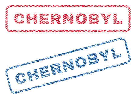 chernobyl: Chernobyl text textile seal stamp watermarks. Blue, red fabric vectorized texture. Vector caption inside rounded rectangular banner. Rubber sign with fiber textile structure.
