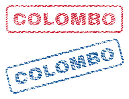 colombo: Colombo text textile seal stamp watermarks. Blue, red fabric vectorized texture. Vector tag inside rounded rectangular shape. Rubber sticker with fiber textile structure.