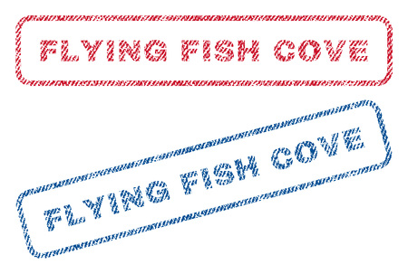 Flying Fish Cove text textile seal stamp watermarks. Blue, red fabric vectorized texture. Vector tag inside rounded rectangular shape. Rubber emblem with fiber textile structure.