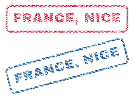 nice france: France, Nice text textile seal stamp watermarks. Blue, red fabric vectorized texture. Vector caption inside rounded rectangular shape. Rubber emblem with fiber textile structure. Illustration