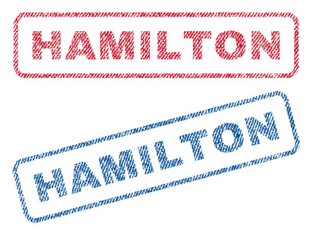 hamilton: Hamilton text textile seal stamp watermarks. Blue, red fabric vectorized texture. Vector tag inside rounded rectangular shape. Rubber emblem with fiber textile structure.