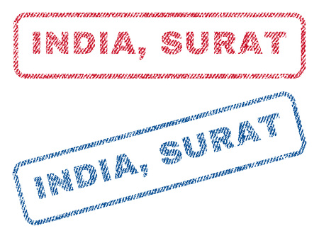 India, Surat text textile seal stamp watermarks. Blue, red fabric vectorized texture. Vector tag inside rounded rectangular banner. Rubber sticker with fiber textile structure.