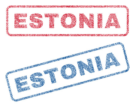 estonian: Estonia text textile seal stamp watermarks. Blue, red fabric vectorized texture. Vector caption inside rounded rectangular banner. Rubber sticker with fiber textile structure.