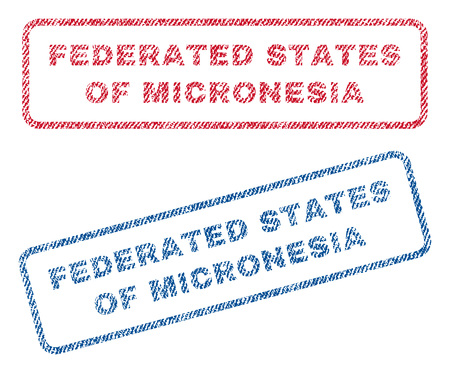 federated: Federated States Of Micronesia text textile seal stamp watermarks. Blue, red fabric vectorized texture. Vector caption inside rounded rectangular shape. Rubber emblem with fiber textile structure. Illustration