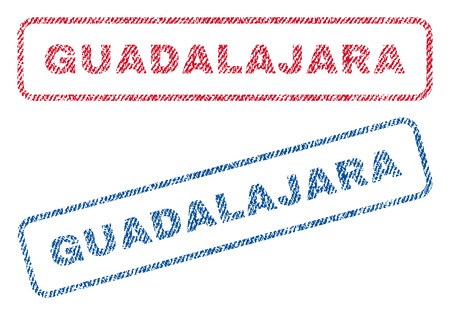 guadalajara: Guadalajara text textile seal stamp watermarks. Blue, red fabric vectorized texture. Vector caption inside rounded rectangular shape. Rubber sign with fiber textile structure.