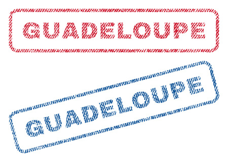 guadeloupe: Guadeloupe text textile seal stamp watermarks. Blue, red fabric vectorized texture. Vector caption inside rounded rectangular banner. Rubber sticker with fiber textile structure.