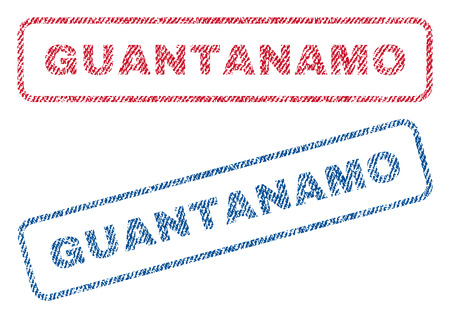 guantanamo: Guantanamo text textile seal stamp watermarks. Blue, red fabric vectorized texture. Vector tag inside rounded rectangular banner. Rubber emblem with fiber textile structure. Illustration