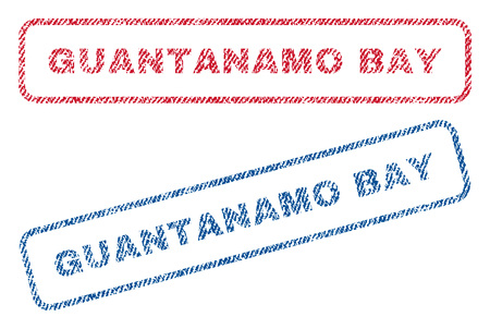 guantanamo: Guantanamo Bay text textile seal stamp watermarks. Blue, red fabric vectorized texture. Vector caption inside rounded rectangular shape. Rubber sign with fiber textile structure.
