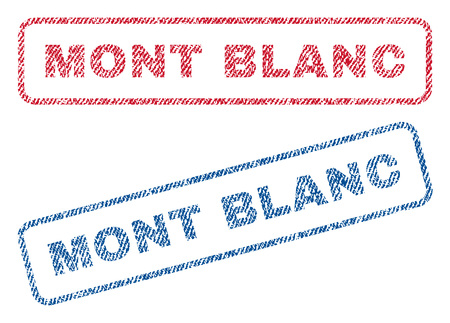 Mont Blanc text textile seal stamp watermarks. Blue, red fabric vectorized texture. Vector caption inside rounded rectangular shape. Rubber sign with fiber textile structure. Illustration