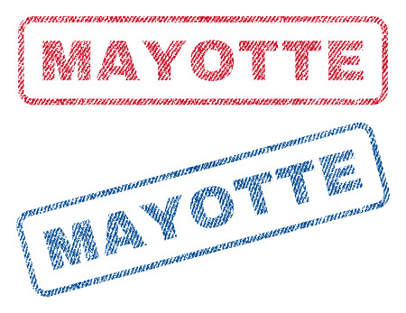 mayotte: Mayotte text textile seal stamp watermarks. Blue, red fabric vectorized texture. Vector caption inside rounded rectangular shape. Rubber sign with fiber textile structure.