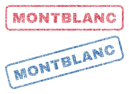 Montblanc text textile seal stamp watermarks. Blue, red fabric vectorized texture. Vector tag inside rounded rectangular banner. Rubber sign with fiber textile structure.