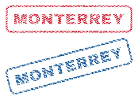 monterrey: Monterrey text textile seal stamp watermarks. Blue, red fabric vectorized texture. Vector caption inside rounded rectangular banner. Rubber sticker with fiber textile structure. Illustration