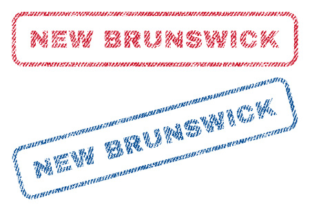 canada stamp: New Brunswick text textile seal stamp watermarks. Blue, red fabric vectorized texture. Vector tag inside rounded rectangular banner. Rubber sign with fiber textile structure.