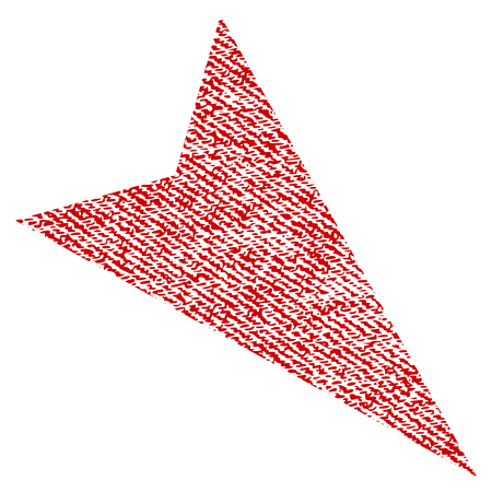 Arrowhead Right-Down raster textured icon for overlay watermark stamps. Red fabric rasterized texture. Symbol with scratched design. Red ink rubber seal stamp with fiber textile structure.