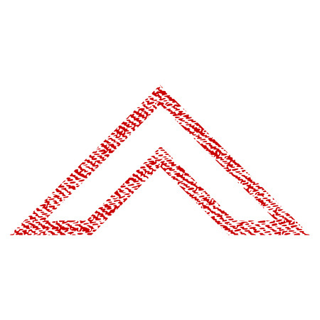 Arrowhead Up raster textured icon for overlay watermark stamps. Red fabric rasterized texture. Symbol with unclean design. Red ink rubber seal stamp with fiber textile structure.