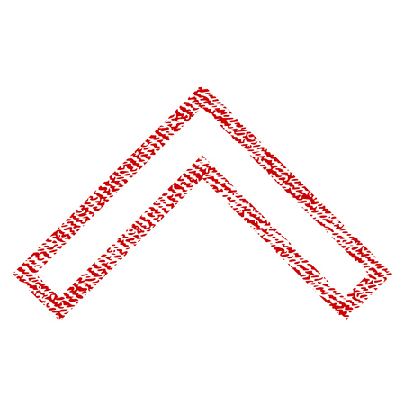 Arrowhead Up raster textured icon for overlay watermark stamps. Red fabric rasterized texture. Symbol with scratched design. Red ink rubber seal stamp with fiber textile structure.