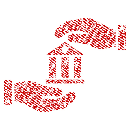 Bank Service raster textured icon for overlay watermark stamps. Red fabric rasterized texture. Symbol with dust design. Red ink rubber seal stamp with fiber textile structure. Stock Photo
