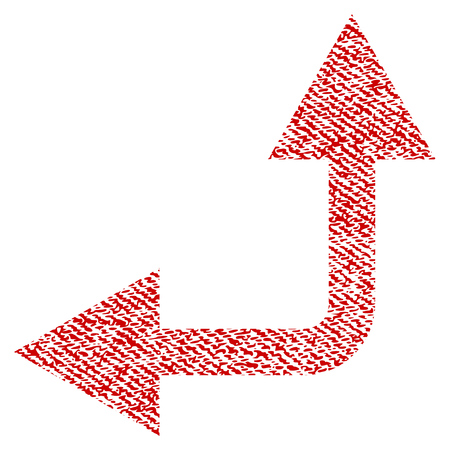 Bifurcation Arrow Left Up raster textured icon for overlay watermark stamps. Red fabric rasterized texture. Symbol with unclean design. Red ink rubber seal stamp with fiber textile structure.