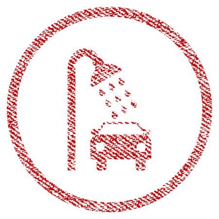 Car Shower raster textured icon for overlay watermark stamps. Red fabric rasterized texture. Symbol with unclean design. Red ink rubber seal stamp with fiber textile structure. Stock Photo