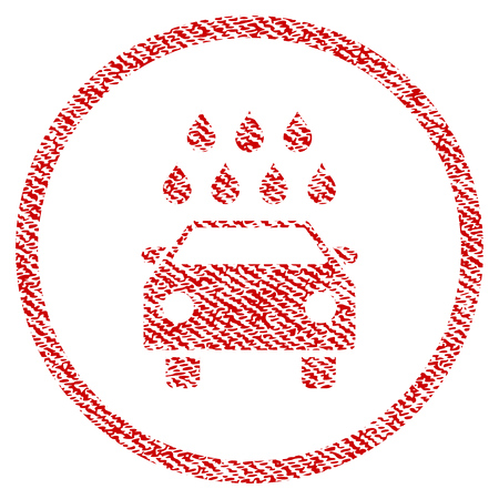 Car Shower raster textured icon for overlay watermark stamps. Red fabric rasterized texture. Symbol with scratched design. Red ink rubber seal stamp with fiber textile structure.
