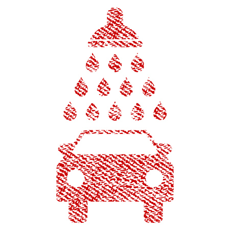 Car Shower raster textured icon for overlay watermark stamps. Red fabric rasterized texture. Symbol with dirty design. Red ink rubber seal stamp with fiber textile structure.
