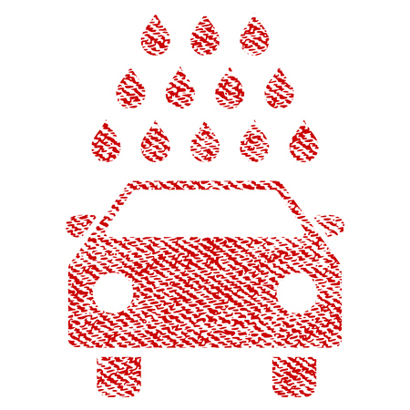Car Wash raster textured icon for overlay watermark stamps. Red fabric rasterized texture. Symbol with unclean design. Red ink rubber seal stamp with fiber textile structure. Stock Photo
