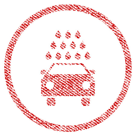 Car Wash raster textured icon for overlay watermark stamps. Red fabric rasterized texture. Symbol with scratched design. Red ink rubber seal stamp with fiber textile structure. Stock Photo