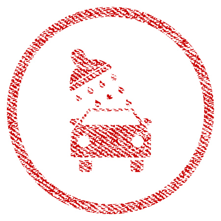 Car Wash raster textured icon for overlay watermark stamps. Red fabric rasterized texture. Symbol with dirty design. Red ink rubber seal stamp with fiber textile structure. Stock Photo