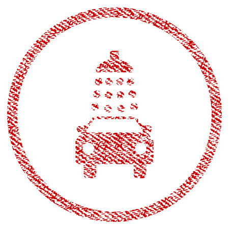Car Wash raster textured icon for overlay watermark stamps. Red fabric rasterized texture. Symbol with dust design. Red ink rubber seal stamp with fiber textile structure.