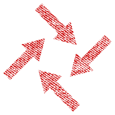 Centripetal Arrows raster textured icon for overlay watermark stamps. Red fabric rasterized texture. Symbol with dirty design. Red ink rubber seal stamp with fiber textile structure.