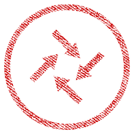 Centripetal Arrows raster textured icon for overlay watermark stamps. Red fabric rasterized texture. Symbol with scratched design. Red ink rubber seal stamp with fiber textile structure.