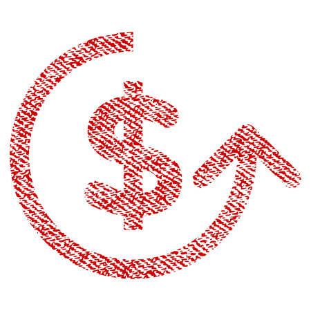 Chargeback raster textured icon for overlay watermark stamps. Red fabric rasterized texture. Symbol with dust design. Red ink rubber seal stamp with fiber textile structure.