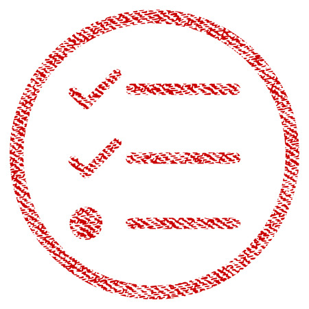 Checklist raster textured icon for overlay watermark stamps. Red fabric rasterized texture. Symbol with scratched design. Red ink rubber seal stamp with fiber textile structure.