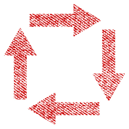 Circulation Arrows raster textured icon for overlay watermark stamps. Red fabric rasterized texture. Symbol with dirty design. Red ink rubber seal stamp with fiber textile structure.