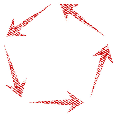 cíclico: Circulation raster textured icon for overlay watermark stamps. Red fabric rasterized texture. Symbol with unclean design. Red ink rubber seal stamp with fiber textile structure.