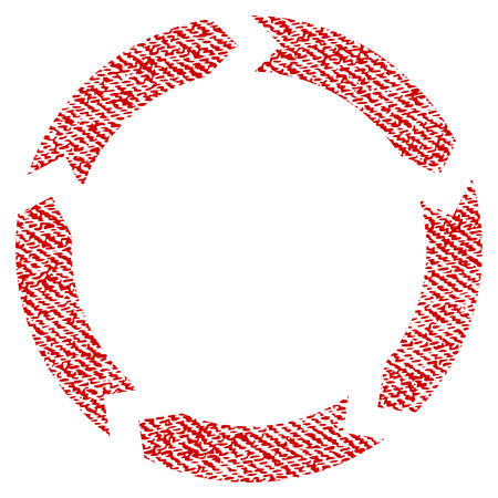 Circulation raster textured icon for overlay watermark stamps. Red fabric rasterized texture. Symbol with unclean design. Red ink rubber seal stamp with fiber textile structure.